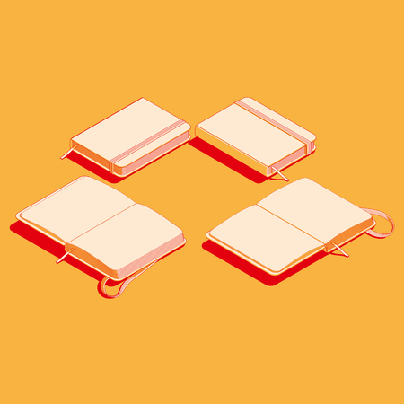 vector illustration of copybook moleskin. isometric flat notepad design Illustration