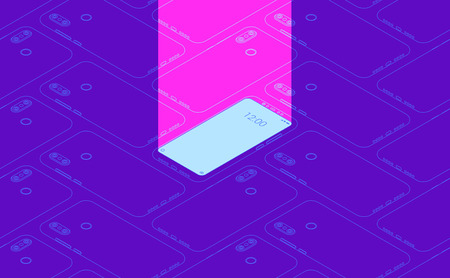 Smartphone seamless flat isometric pattern for background Stock Photo