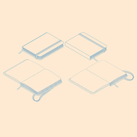 isometric flat vector illustration of copybook notepad.