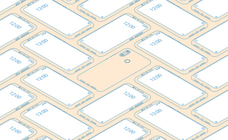 Smartphone seamless flat isometric pattern for background Stockfoto