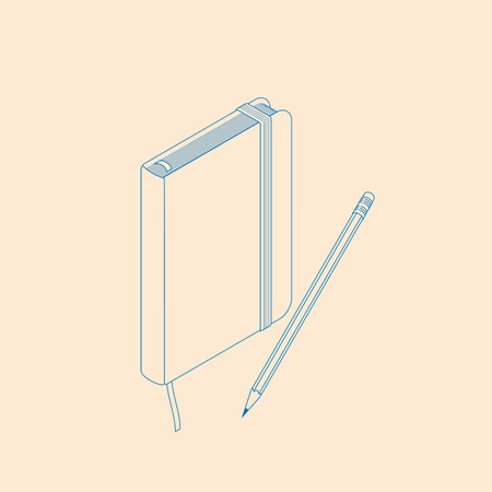 vector illustration of copybook moleskin with pencil. isometric flat notepad design Stock Illustratie