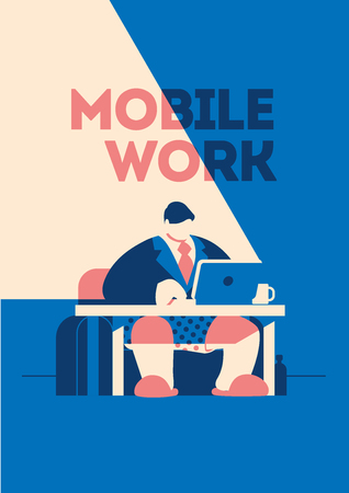 Man in the tie, jacket and pants is working at his laptop. Freelancer mobile work concept vector illustration. Stock Illustratie