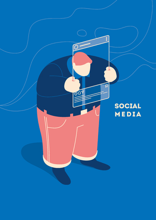 Social media concept with user or blogger selfie in blog. Flat style isometric vector illustration Stock Illustratie