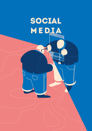 Two people communicate in social networks. Man using smartphone as a glasses to view user or blogger profile selfie. Concept vector illustration. Reklamní fotografie - 127383787