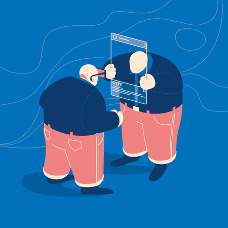 Two people communicate in social networks. Man using smartphone as a glasses to view user or blogger profile selfie. Concept vector illustration.