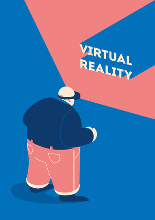 Man wears VR, virtual reality goggles, glasses. Purple glasses, blue background. Flat vector illustration for blog, website and landing page design Reklamní fotografie - 127180335