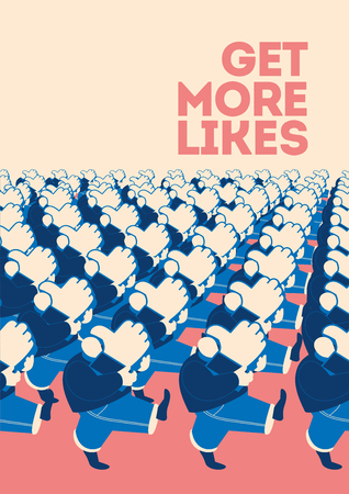 Crowd of marching people with like sings. Flat vector illustration for social media and web design. Stock Illustratie