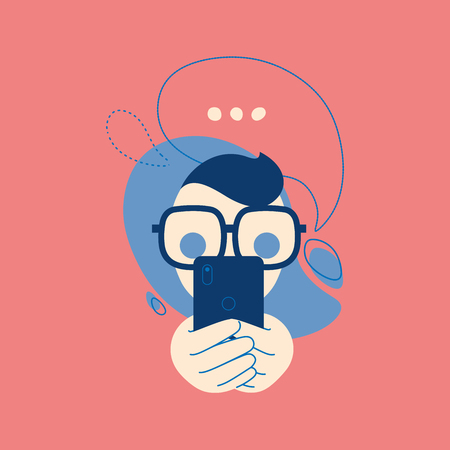 Portrait of talking on the phone a man with a bubbles. Message, call emoji, messenger stiker illustration concept in flat vector style. Stock Illustratie