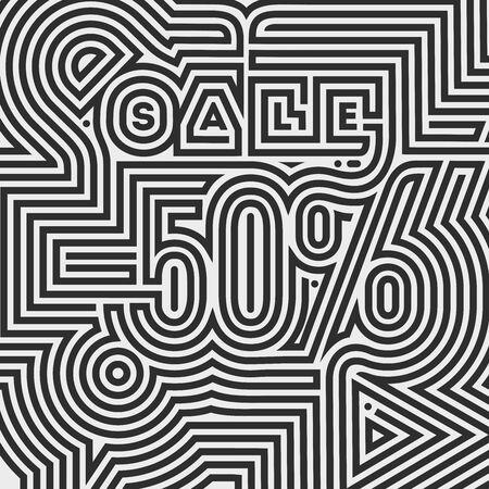 50 percent off,Ornamental Doodle Sale flyer template, banner Illusztráció