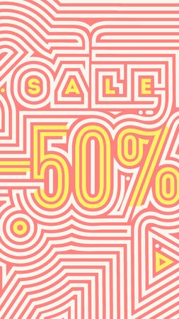 50 percent off,Ornamental Doodle Sale flyer template, banner Vectores