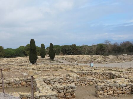 Ancient greek ruins of Empuries in Catalonia, Spain. Foundations only left