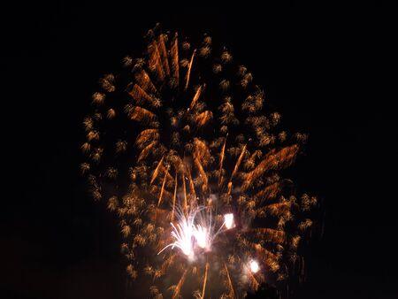 Fireworks in Luxembourg celebrating National Day and Grand Dukes birthday. Dark night, long exposure Stock Photo