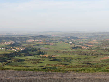 Panoramic views from Alto de Perdon or Forgiveness mountain near Pamplona, Navarra, Spain, on route of Camino de Santiago on sunny summer day