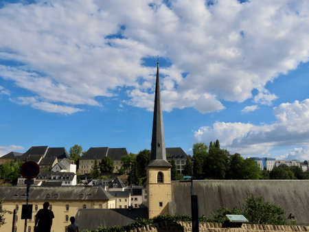 Neumunster Abbey in Luxembourg Grund, on a sunny summer day