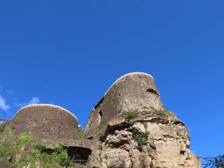 Archeological crypt Bock castle ruins in Luxembourg Grund on a sunny summer day Banque d'images