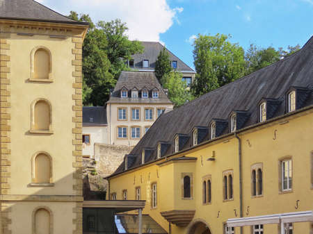 View of Neumunster Abbey in Luxembourg Grund, on a sunny summer day
