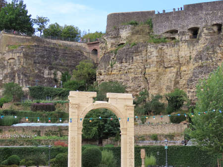 Copy of Palmyra gate from Syria in front of cliffs in Neuminster, Luxembourg, Luxembourg - August 22, 2020 Éditoriale