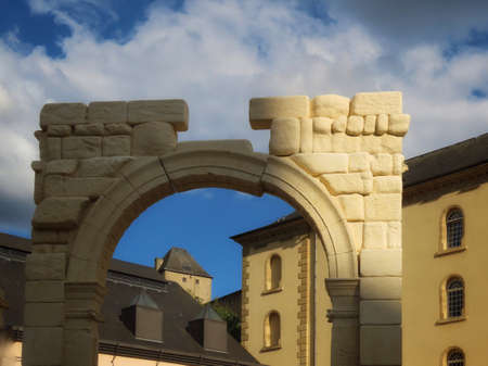 Copy of Palmyra gate from Syria in Neuminster, Luxembourg, Luxembourg - August 15, 2020