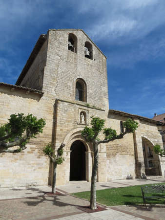 Santa Maria del Camino church in Carrion de los Condes, Palencia Spain. Old romanesque style stone building