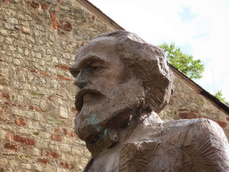 Head detail of monument to Karl Marx in Trier, Rhineland-Palatinate, Germany - September 1, 2020 Éditoriale