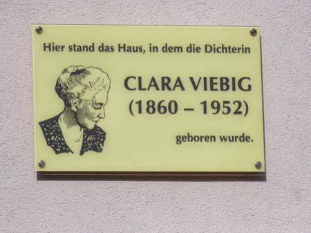Clara Viebig - German writer - birth house location memorial plaque in Trier, Rhineland-Palatinate, Germany - September 1, 2020