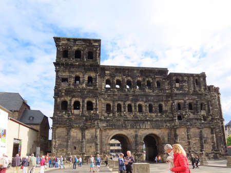 Ancient Roman gate called Porta Nigra - UNESCO World Heritage Site - in Trier, Rhineland-Palatinate, Germany - September 1, 2020