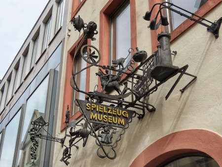 Sign that says Toy museum in German, located in Trier, Rhineland-Palatinate, Germany - September 1, 2020