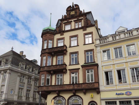 Traditional gothic medieval houses in Trier, Rhineland-Palatinate, Germany - September 1, 2020