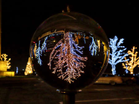 Trees with Christmas decorative lights, yellow and white. Upside down reflection through crystal ball Standard-Bild