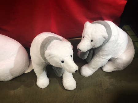 Christmas decoration - two big white baby polar bears with shawls - for sale in shop