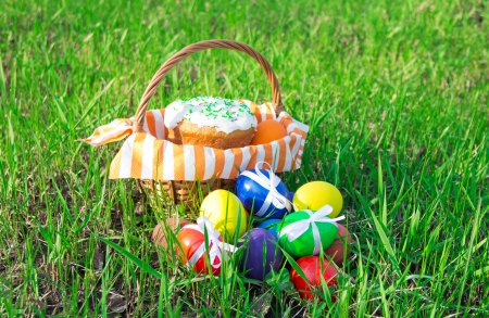 Easter cake on a striped napkin in a basket and eggs on green spring grass photo