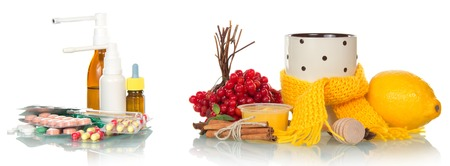 Traditional and medicamentous remedies for cold on a white background photo