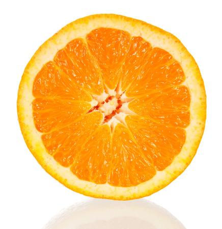 흰색에 고립 된 오렌지 단면 스톡 콘텐츠