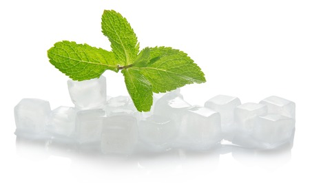 Ice for cocktail and the spearmint leaves, isolated on white Foto de archivo