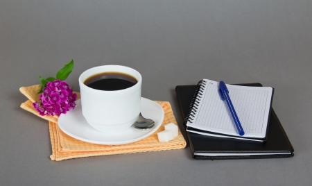 Cup of coffee, sugar and flower on a napkin, a set for records, on a gray background photo