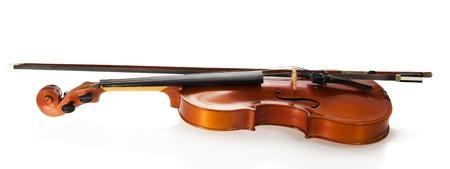 fiddlestick: Viol�n y arco de viol�n, aislado en blanco