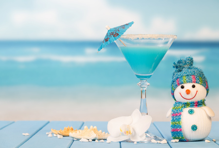 Cocktail, snowman, starfish and orchid flower on a background of the sea. 版權商用圖片 - 65488006