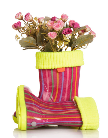 inset: Children rubber boots with fabric inset and roses isolated on white background.