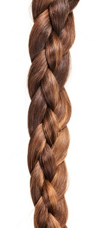 Brown hair braided in pigtail isolated on white background.