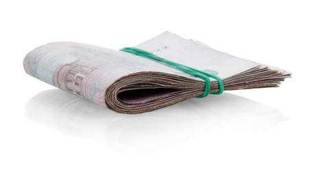 fastened: Tutu Ukrainian money fastened by a rubber band isolated on white background. Stock Photo