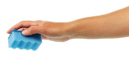 sterilize: Female hand with kitchen sponge isolated on white background. Stock Photo