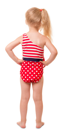 Little blond girl in swimsuit, rear view isolated on white background.