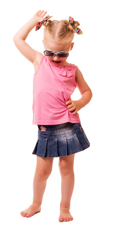 head down: Little blonde girl in sunglasses tilted her head down isolated on white background. Stock Photo
