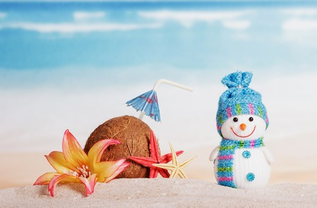 Happy snowman, coconut with an umbrella and starfish in the sand Standard-Bild