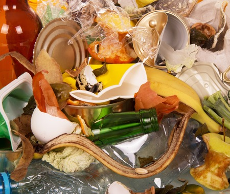 managing waste: Household waste closeup background. View from above. Stock Photo