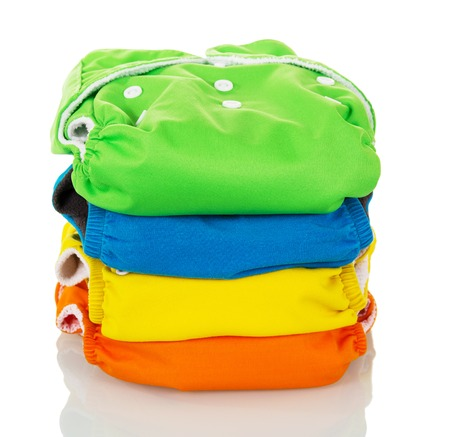 Cloth diapers environmentally friendly isolated on white background. Stock Photo