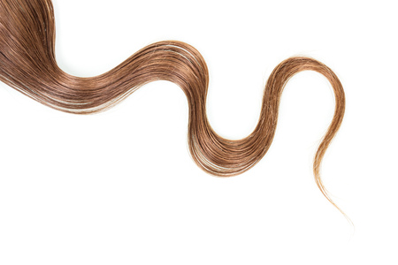 strand of hair: A strand of long, frizzy, brown hair isolated on white background.