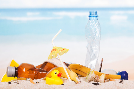 food waste: Plastic bottles, food waste and a rubber duck in the sand against the sea.