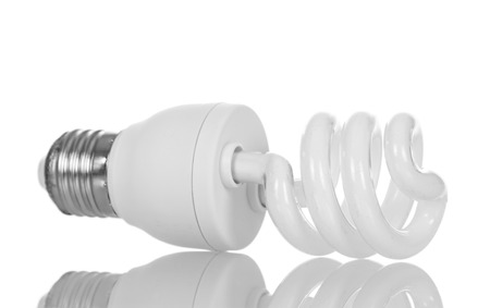 Energy-saving fluorescent lamp isolated on white background. Stock Photo