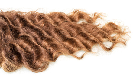 Brown curly hair isolated on white background.